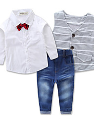 Autumn and Spring Gentlemen Set Children Clothing Suit Baby Boy Suit Long Sleeve T-shirt Vest Jeans 3pcs Kids Suit