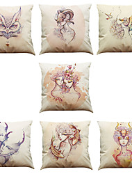 cheap -Set of 7 Watercolor  Pattern Linen  Cushion Cover Home Office Sofa Square  Pillow Case Decorative Cushion Covers Pillowcases As a Gift