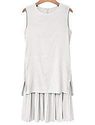 cheap -Women's Plus Size Cotton Sheath Dress - Solid Colored
