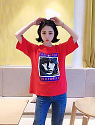 Real shot Harajuku wind personality head printing T-shirts