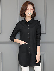 2017 Spring and Autumn new cotton shirt female long-sleeved shirt Korean version of the long section of loose big yards female coat