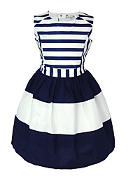 cheap -Girl's Daily Striped Dress, Cotton Summer Sleeveless Stripes Navy Blue
