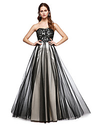 A-Line Sweetheart Floor Length Lace Tulle Formal Evening Dress with Lace Pleats by TS Couture®