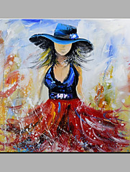 Hand-Painted Abstract Girl Wearing Straw Hat Oil painting Ready To Hang Modern One Panels Canvas Oil Painting For Home Decoration