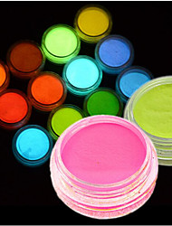 cheap -1Bottle Hot Fashion Colorful Nail Art Neon Pigment Powder Fluorescent Glitter Powder Glow In Dark Acrylic Powder Nail Art DIY Beauty Pigment YS01-12