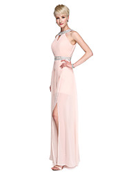 cheap -Sheath / Column High Neck Floor Length Chiffon Bridesmaid Dress with Beading / Split Front / Pleats by LAN TING BRIDE® / Beautiful Back
