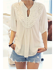 Women's Work Simple T-shirt,Solid V Neck ½ Length Sleeve Polyester