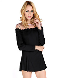Spot explosion models sexy transparent net yarn stitching long-sleeved black lace mini skirt Europe and even