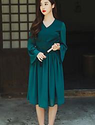 vento cinese stile elegante abito gonna in chiffon cinghia del collare ricamo