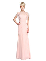 Sheath / Column Bateau Neck Floor Length Georgette Bridesmaid Dress with Beading Buttons Ruching by LAN TING BRIDE®