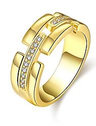 preiswerte -Damen Ring Kubikzirkonia Gold Silber Rose Roségold Zirkon Kupfer versilbert vergoldet Rose Gold überzogen Kreisförmig Personalisiert