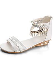 Women's Sandals Comfort PU Spring Casual Comfort Flat Heel White Blue Blushing Pink Flat