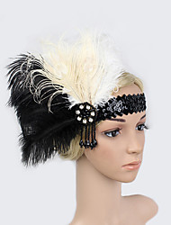 cheap -Rhinestone Feather Polyester Headbands Flowers 1 Special Occasion Headpiece
