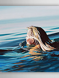 Hand-Painted  Abstract a Woman Swimming Head  Canvas Oil Painting With Stretcher For Home Decoration Ready to Hang