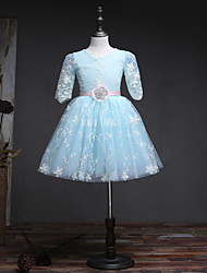 Ball Gown Knee Length Flower Girl Dress - Tulle Half Sleeves Jewel Neck with Ribbon