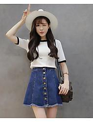 Spot really making 2017 spring and summer new Korean version was thin waist flash breasted denim skirt skirts women