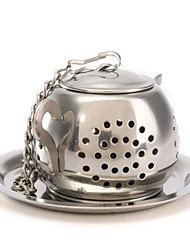 cheap -1pc Teapot Pot Shape Stainless Steel Leaf Tea Infuser Filter Strainer Ball Spoon