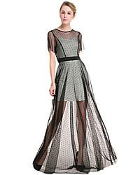 SUOQI Plus Size Women Round Neck Short Sleeves Wave Point Lace Mesh Large Swing Dress Beach Seaside Party Dress