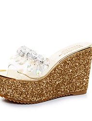 Women's Sandals Slingback PU Summer Casual Walking Slingback Rhinestone Wedge Heel Gold Silver 3in-3 3/4in