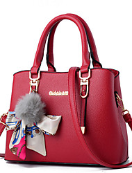 cheap -Women Bags PU Tote Lace Fur for Event/Party Formal Office & Career Outdoor All Seasons Black Red Blushing Pink Gray Purple