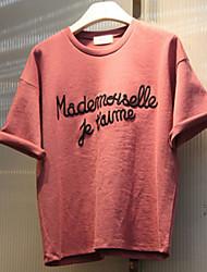 Versão coreana das novas letras em torno do pescoço de manga curta t-shirt moda feminina selvagens camisa casual grandes metros influxo