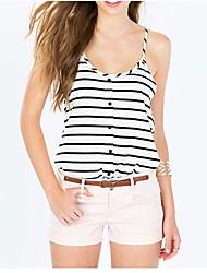 ebay aliexpress caldi minimalista in bianco e nero gessato stampa bottoni decorativi U-collo cablaggio della maglia