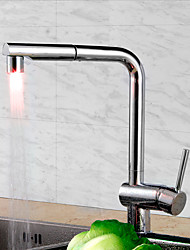 Contemporary Art Deco/Retro Modern Pull-out/­Pull-down Standard Spout Tall/­High Arc Deck Mounted Pullout Spray Thermostatic LED with