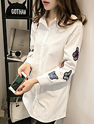 cheap -Women's Daily Cute Casual All Seasons Shirt,Embroidered Shirt Collar Long Sleeves Polyester Medium
