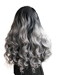 cheap -2017 Sylvia Synthetic Lace Front Wig Black To Grey Curly Heat Resistant Free Wig Net  Synthetic Wigs