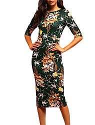 Women's Going out Party Chinoiserie Bodycon Dress,Floral Round Neck Midi ½ Length Sleeve Polyester Summer Fall High Rise Inelastic Medium