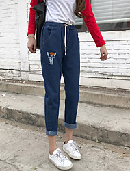 Sign Super Meng puppy embroidery wild embroidery elastic waist pants nine points jeans