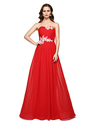 cheap -A-Line Sweetheart Floor Length Chiffon Formal Evening Dress with Beading Pleats by TS Couture®