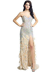 cheap -Mermaid / Trumpet Sweetheart Sweep / Brush Train Jersey Formal Evening Dress with Beading by Sarahbridal
