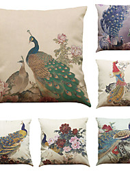 Set of 6 Peacock Pattern  Linen Pillowcase Sofa Home Decor Cushion Cover (18*18inch)