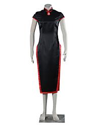 abordables -Trajes Cosplay Vestidos Uniformes Escolares Inspirado por Naruto Temari Animé Accesorios de Cosplay Cheongsam Negro Charmeuse