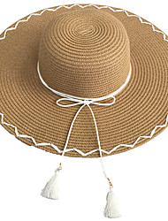 cheap -Women 's Beach Vacation Summer Bow Tie Tassel Shopping Straw Big Brim Hat