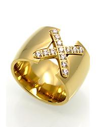 cheap -Men's Women's Ring Geometric Rock Euramerican Double-layer Fashion Personalized Cubic Zirconia Titanium Steel Geometric Jewelry For