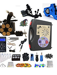 cheap -Complete Tattoo Kit 3  Machines Blue Hurricane Dual Digital LED Power Supply  Liner & Shader