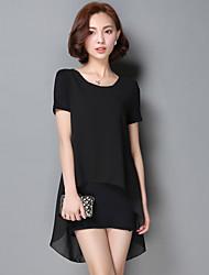 2017 été coréen en mousseline de soie chemise à manches courtes T-shirt grands chantiers longue section de dames de couture lâche creux de
