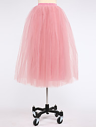 Slips Ball Gown Slip Knee-Length 4 Tulle Netting White Black Peach Red