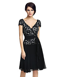 cheap -Sheath / Column V-neck Knee Length Chiffon Cocktail Party Dress with Lace by Sarahbridal