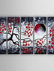 Hand-Painted  Abstract Landscape Set of 5 Canvas Oil Painting With Stretcher For Home Decoration Ready to Hang