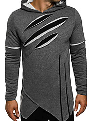 Men's Daily Sports Hoodie Color Block Shirt Collar Micro-elastic Cotton Long Sleeve Spring Fall