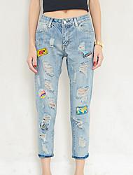 Excelente cliente realmente fazendo 2017 primavera buracos novo patch emblema em jeans feminino luz