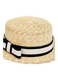 cheap -Women 's Beach British Black And White Stripes Bow Cloth Flat Top Sunscreen Straw Hat
