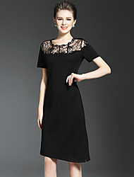NEDO Women's Going out Party Holiday Street chic Sophisticated Little Black DressSolid Round Neck Asymmetrical Short Sleeve Black