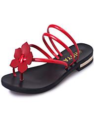 Недорогие -Для женщин Обувь Дерматин Лето Туфли Мери-Джейн Тапочки и Шлепанцы Для прогулок На низком каблуке Круглый носок Цветы для Для праздника