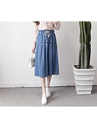 Zeichen im Frühjahr 2017 koreanische Version des College Wind bestickte Spitze elastische Taille dünne Jeans Röcke
