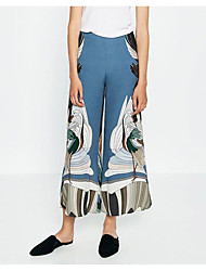 European and American trade big runway shows ZA crane printed trousers wide leg pants new spring and summer women's wild thin