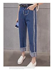 Sign Spring Korean tidal BF wind white edge stitching straight jeans female Korean autumn and winter slacks